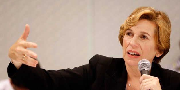 File-This July 11, 2014, file photo shows American Federation of Teachers President Randi Weingarten taking questions about U