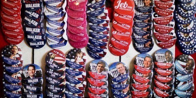 Campaign buttons are displayed for sale outside the Georgia Republican Convention floor Friday, May 15, 2015, in Athens, Ga.