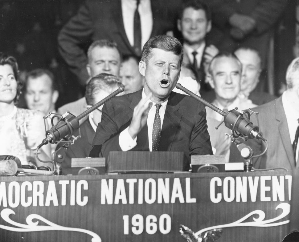 Then-Sen. John F. Kennedy addresses the Democratic National Convention after accepting his nomination for president in Los An