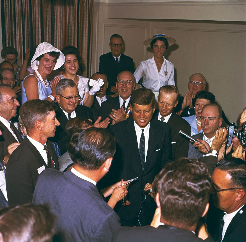 Sen. John F. Kennedy outside his Biltmore Suite after getting the presidential nomination at the 1960 Democratic National Con