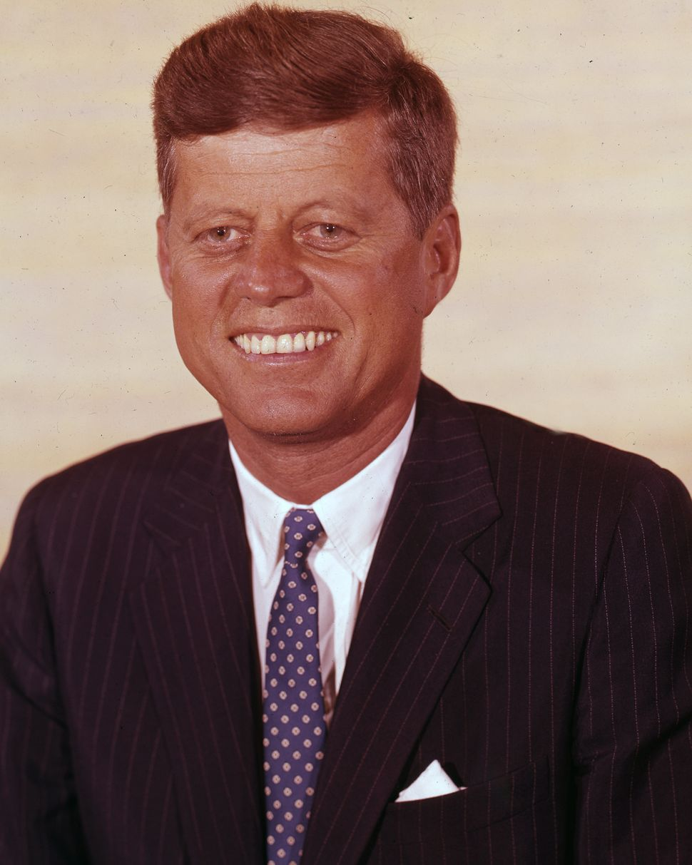 Color photo of then-Sen. John F. Kennedy taken at the Biltmore Hotel in Los Angeles during the 1960 convention.