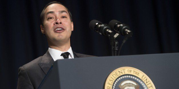 US Secretary of Housing and Urban Development (HUD) Julian Castro speaks from the presidential podium during the National Pra