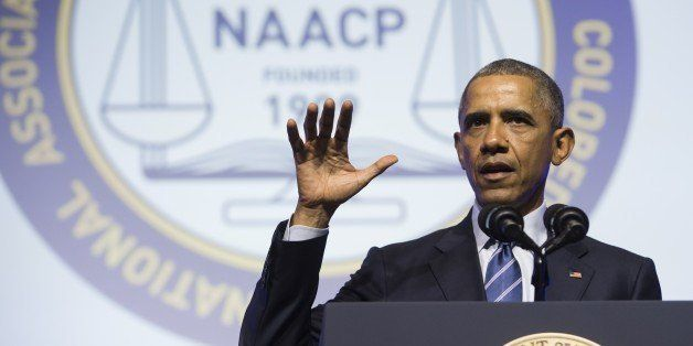 US President Barack Obama speaks during the NAACP's 106th National Convention in Philadelphia, Pennsylvania, July 14, 2015. A