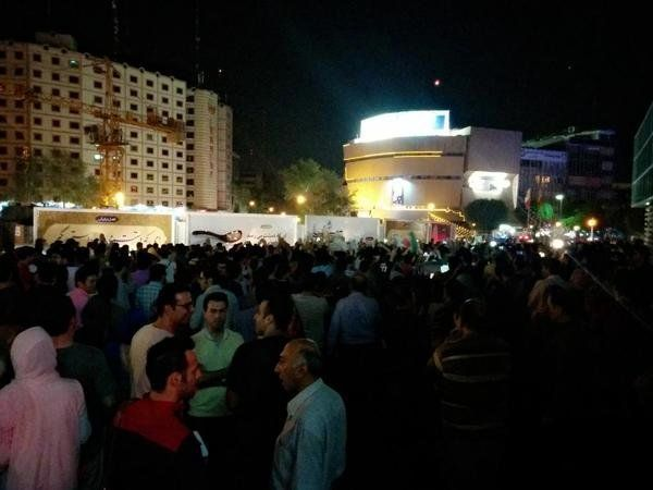 People gather to celebrate in Tehran on July 14, 2015.