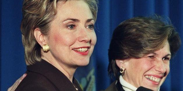 NEW YORK, UNITED STATES:  US First Lady Hillary Rodham Clinton (L) and United Federation of Teachers (UFT) President Randi We