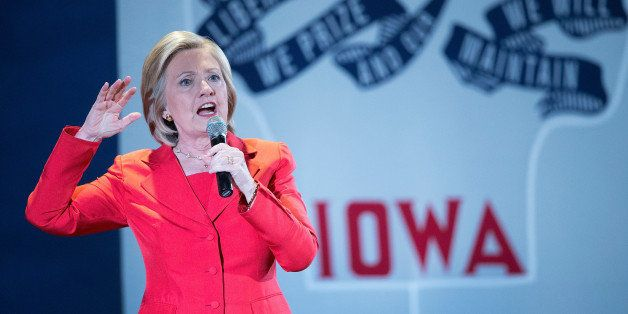 CEDAR RAPIDS, IA - JULY 17:  Democratic presidential candidate Hillary Clinton speaks to guests gathered at the Veterans Memo