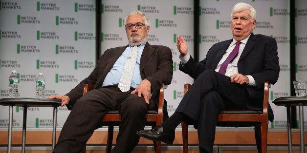 WASHINGTON, DC - JULY 20:  Former Rep. Barney Frank (D-MA) (L) and former Sen. Chris Dodd (D-CT) talk about their hallmark an
