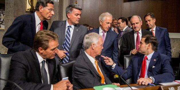 Clockwise from top left, Sen. John Barrasso, R-Wyo., Sen. Cory Gardner, R-Colo., Chairman Sen. Bob Corker, R-Tenn., Sen. Jame