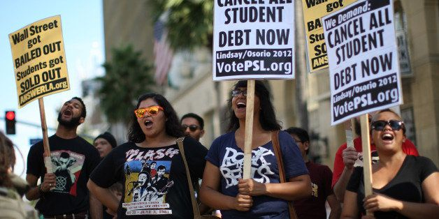 LOS ANGELES, CA - SEPTEMBER 22:  Students protest the rising costs of student loans for higher education on Hollywood Bouleva