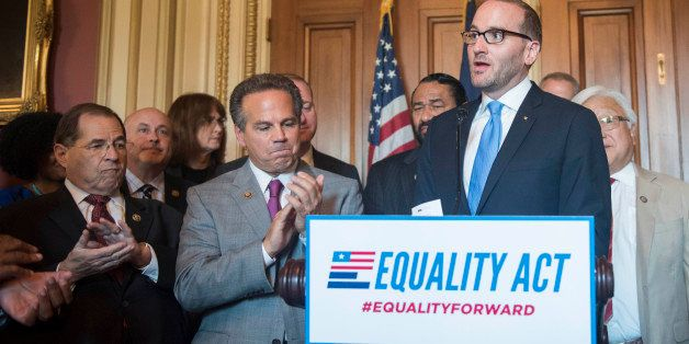 IMAGE DISTRIBUTED FOR HUMAN RIGHTS CAMPAIGN - Human Rights Campaign President Chad Griffin speaks at a news conference in the