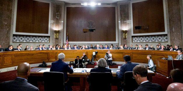 From left, Secretary of State John Kerry, Secretary of Energy Ernest Moniz, and Secretary of Treasury Jack Lew, testify at a