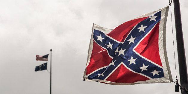 COLUMBIA, SC - JULY 8:  The Confederate battle flag flies at the South Carolina state house grounds July 8, 2015 in Columbia,