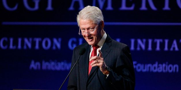 Former President Bill Clinton speaks to attendees during a session of the annual gathering of the Clinton Global Initiative A