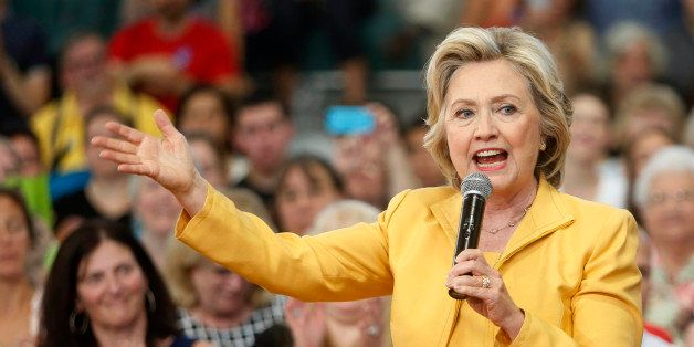 Democratic presidential candidate Hillary Rodham Clinton speaks during a campaign stop, Tuesday, July 28, 2015, in Nashua, N.