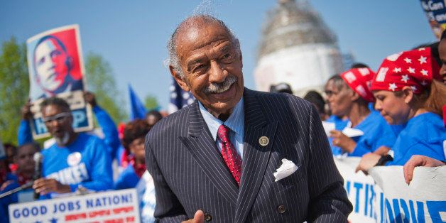 UNITED STATES - APRIL 22: Rep. John Conyers, D-Mich., attends a rally with striking federal workers on the East Front of the