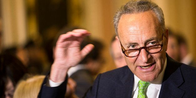 FILE - In this May 5, 2015, file photo, Sen. Charles Schumer, D-N.Y., speaks to reporters on Capitol Hill in Washington. Schu