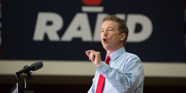 IOWA CITY, IOWA - APRIL 10: U.S. Sen. Rand Paul (R-KY) and GOP presidential hopeful  and GOP presidential hopeful  continues