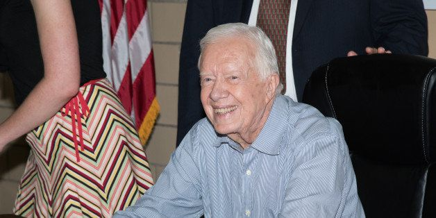 RIDGEWOOD, NJ - JULY 08:  Former President of the United States Jimmy Carter signs copies of 'A Full Life Reflections At Nine