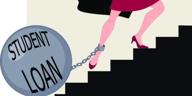 Young woman in a graduation mantle and a hat climbing stairs with a heavy ball chained to her leg, vector illustration