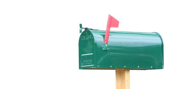 plain green metal mailbox...