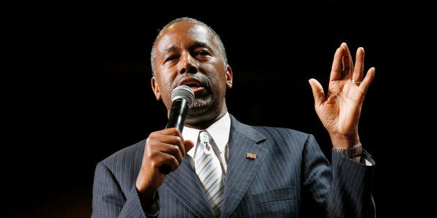 Republican presidential candidate Dr. Ben Carson delivers a speech at a rally to supporters Tuesday, Aug. 18, 2015, in Phoeni