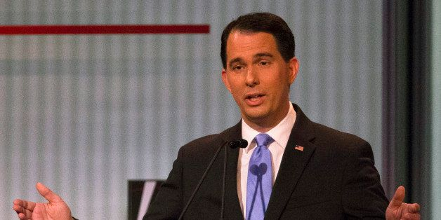 Republican presidential candidate and Wisconsin Gov. Scott Walker speaks during the first Republican presidential debate at t