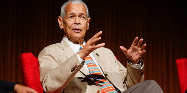 "Former NAACP chairman Julian Bond takes part in the ""Heroes of the Civil Rights Movement"" panel during the Civil Rights Summi"