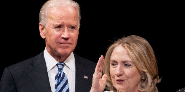 Vice President Joe Biden and former Secretary of State Hillary Rodham Clinton appear onstage at the Vital Voices Global Partn