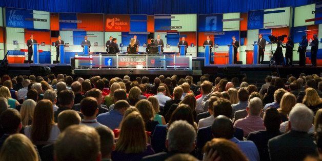 Republican presidential candidates from left, Chris Christie, Marco Rubio, Ben Carson, Scott Walker, Donald Trump, Jeb Bush,