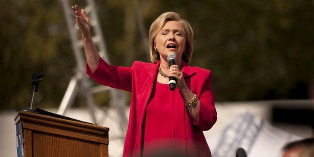 CLEVELAND, OH - AUGUST 27:  Democratic presidential candidate and former U.S. Secretary of State Hillary Clinton speaks to gu