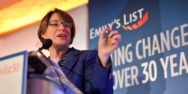 WASHINGTON, DC - MARCH 03:  Senator Amy Klobuchar speaks at EMILY's List 30th Anniversary Gala at Washington Hilton on March