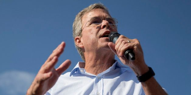 Jeb Bush, former governor of Florida and 2016 Republican presidential candidate, speaks to attendees at the Iowa State Fair S