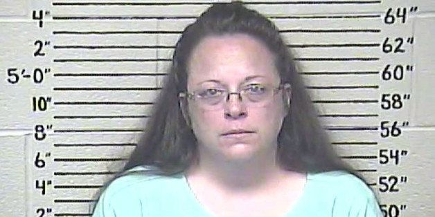 This Thursday, Aug. 3, 2015 photo made available by the Carter County Detention Center shows Kim Davis. The Rowan County, Ky.