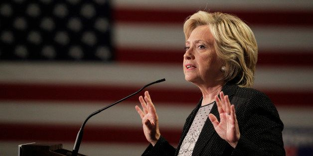 Democratic presidential candidate Hillary Rodham Clinton speaks at a 'Women for Hillary' grassroots organizing meeting Thursd