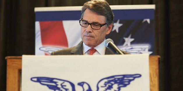 ST. LOUIS, MO - SEPTEMBER 11: Republican Presidential Nominee Governor Rick Perry (R-TX) speaks to the crowd during the Eagle