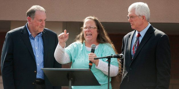 GRAYSON, KY - SEPTEMBER 8:  Rowan County Clerk of Courts Kim Davis speaks next to her attorney Mat Staver (R) and Republican
