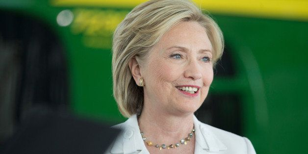 ANKENY, IA - AUGUST 26:  Democratic presidential candidate and former U.S. Secretary of State Hillary Clinton speaks to guest