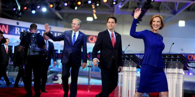 SIMI VALLEY, CA-SEPTEMBER. 16:  Republican presidential candidates (R-L) Carly Fiorina, Wisconsin Gov. Scott Walker and Jeb B