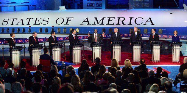 Republican presidential hopefuls (L-R), Kentucky Sen. Rand Paul, former Arkansas Gov. Mike Huckabee , Florida Sen. Marco Rubi