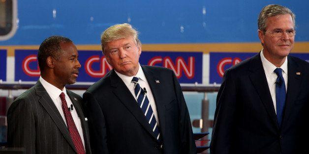 SIMI VALLEY, CA - SEPTEMBER 16:  Republican presidential candidates, U.S. Sen. Ted Cruz (R-TX), Ben Carson, Donald Trump and