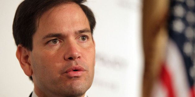 NEW YORK, NY - AUGUST 14:  Marco Rubio gives speach  for the Foreign Policy Initiative at 3 West Club on August 14, 2015 in N