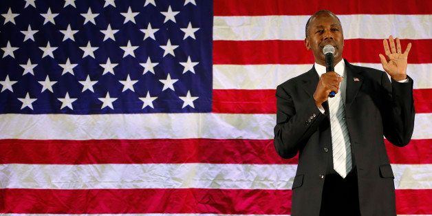 Ben Carson, 2016 Republican presidential candidate, speaks during a rally at Spring Arbor University in Spring Arbor, Michiga
