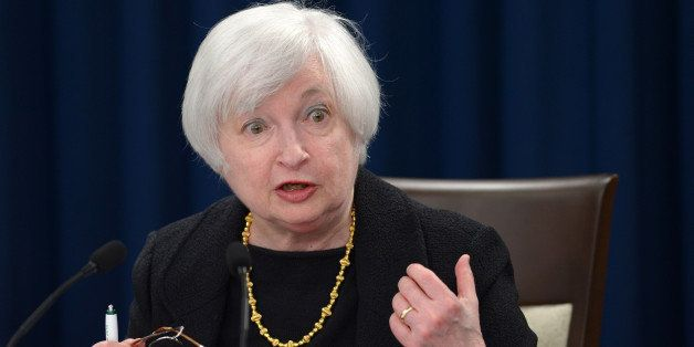 WASHINGTON D.C., Sept. 17, 2015-- U.S. Federal Reserve Chair Janet Yellen speaks during a press conference in Washington D.C., the United States, Sept. 17, 2015. The Federal Reserve announced on Thursday that the federal funds rate will stay unchanged considering the weak global economy and low inflation. (Xinhua/Yin Bogu via Getty Images)