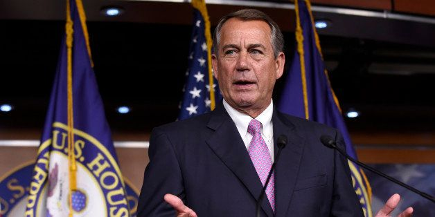 House Speaker John Boehner of Ohio speaks during a news conference on Capitol Hill in Washington, Wednesday, July 29, 2015. A