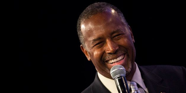 Ben Carson, 2016 Republican presidential candidate, smiles while speaking during the Values Voter Summit in Washington, D.C.,