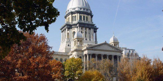 The Illinois State Capitol Building as seen looking west from the grounds of the Illinois Supreme Court Building. This State