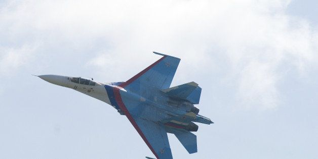 Russian air fighter Su-27 at military show