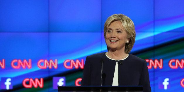 LAS VEGAS, NV - OCTOBER 13:  Democratic presidential candidate Hillary Clinton takes part in a presidential debate sponsored