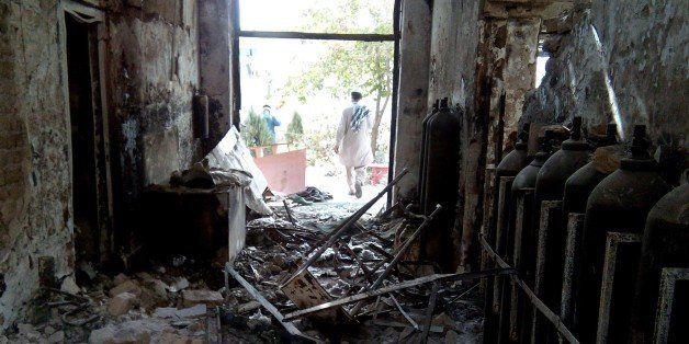 The damaged interior of the hospital in which the Medecins Sans Frontieres (MSF) medical charity operated is seen on October