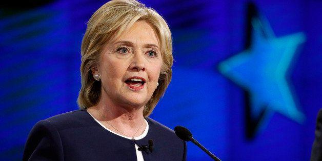 Hillary Rodham Clinton speaks during the CNN Democratic presidential debate Tuesday, Oct. 13, 2015, in Las Vegas. (AP Photo/J